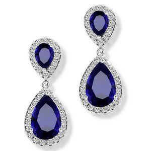 Sapphire &  Crystal Teardrop Dangle Earrings